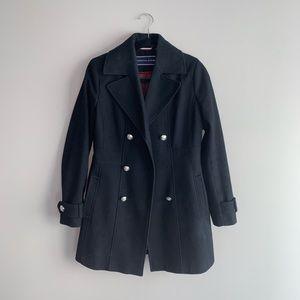 Tommy Hilfigir Black Pleated Pea Coat